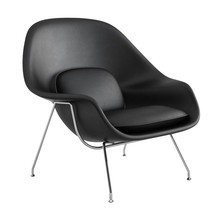 Knoll International - Womb Chair Relax Ledersessel Gestell chrom