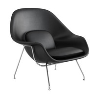 Knoll International - Womb Chair Relax - Fauteuil en cuir chrome