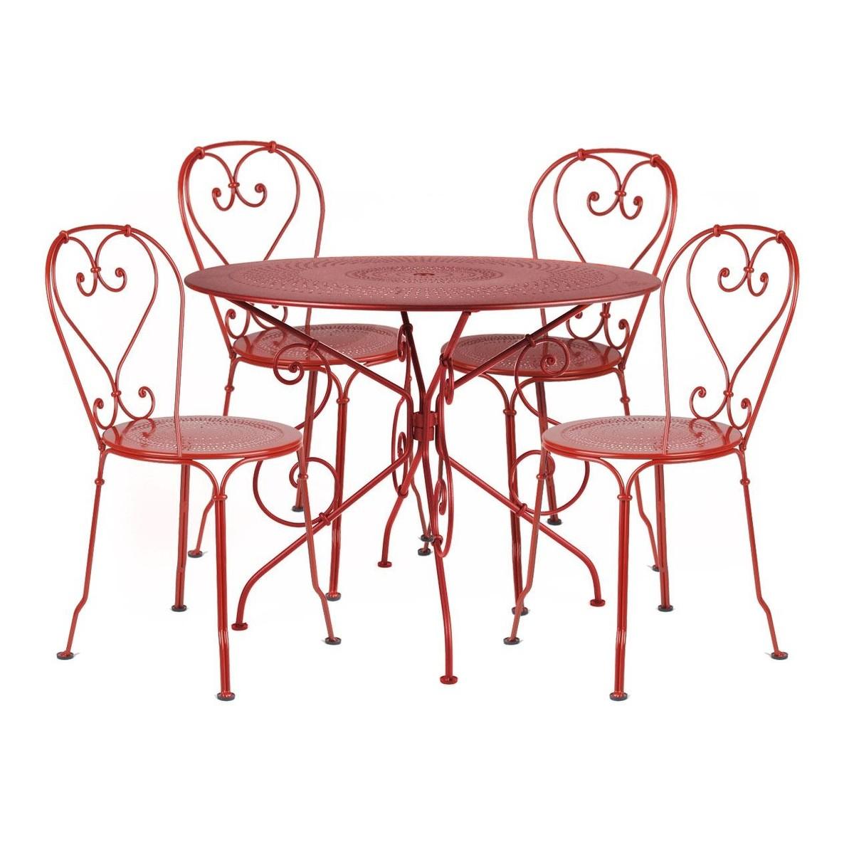 1900 ensemble de 4 chaises de jardin fermob set. Black Bedroom Furniture Sets. Home Design Ideas