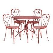 Fermob - 1900 Garten-Set 4 Stühle - mohnrot/4 Stühle/Tisch Ø96cm
