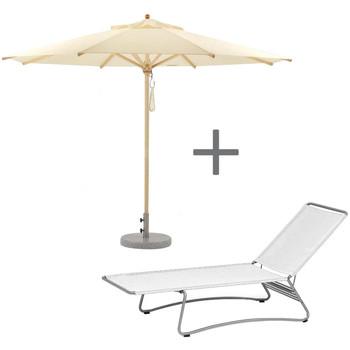 - Weishäupl Sonnenliege mit Sonnenschirm  - weiß / natur/Sonnenliege 206x76x82cm/Schirm Ø 210cm