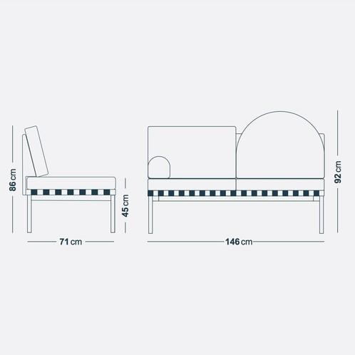 Petite Friture - Grid 2-Sitzer Sofa - Strichzeichnung