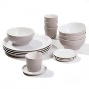 Alessi - Tonale Frühstücksset 16tlg. - hellgrau/4 Becher mit 4 Untertellern//4 Müslischalen/4 Teller