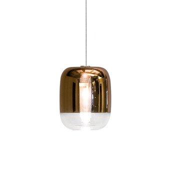 Prandina - Gong Mini LED S1 Pendelleuchte  - kupfer/metallisiert/H 16,5cm, Ø 13,5cm/Struktur: Silber mattiert/ 2700K/300lm