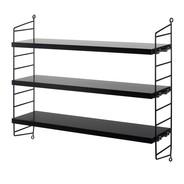 String - String Pocket Shelf 60x50x15cm - ash/black/2 side panels, 3 shelves