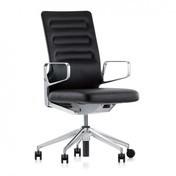 Vitra - AC 4 Citterio Bürostuhl mit Ringarmlehnen - nero schwarz/Leder 66/Gestell aluminium poliert/mit weichen Rollen