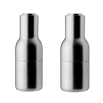 Menu - Bottle Grinder Salzmühle/Pfeffermühle  - Edelstahl/gebürstet/H: 20,5 x Ø 8cm/2er Set