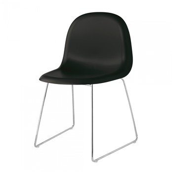 Gubi - Gubi 3D Dining Chair Stuhl Kufengestell Chrom - Mitternachtsschwarz/Sitzfläche HiRek Kunststoff/BxHxT 52x82x53,5cm/Gestell Chrom