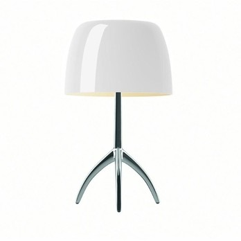 Foscarini - Lumiere Piccola Tischleuchte Alu. mit Dimmer - warmweiß/aluminium/Glas/Gestell poliert/H 35cm/Ø 20cm