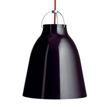 Lightyears - Caravaggio P2 Pendelleuchte - schwarz/hochglänzend/Kabel rot/H 33.7cm/Ø 25.8cm