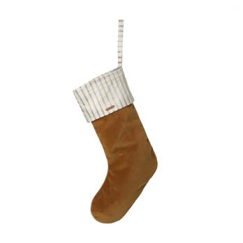 - ferm LIVING Samt Weihnachtsstrumpf 24214 - senf/weiß/LxB 48x18cm/chemisch reinigen