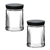 Rosendahl Design Group - Grand Cru Aufbewahrungsgläser Set - transparent/Deckel schwarz/Größe 3/2 Stück/H 15cm