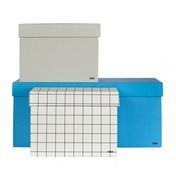 HAY - Box Box 3 Aufbewahrungsboxen Set - blau/kariert/grau/3 verschiedene Größen/22x36x15cm/20x20x14cm/13x20x14cm