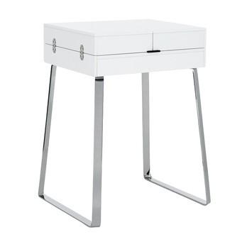 ClassiCon - Zelos Sekretär - weiß/glänzend/Schreibtischunterlage Leder schwarz