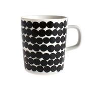 Marimekko - Oiva Kaffeetasse/Becher - schwarz-weiß/Muster: Siirtolapuutarha/2dl