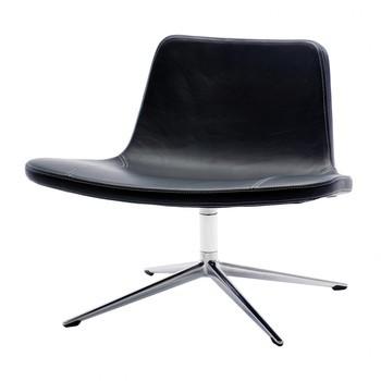 HAY - Ray Swivel Lounge Leder Drehsessel - schwarz/Leder California CA5001/Gestell Aluminium/79x64x65cm