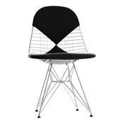 Vitra - Eames Wire Chair DKR-2 Stuhl - verchromt/Stoff Hopsak 66 schwarz/inkl. Sitz-/Rückenkissen und Filzgleitern