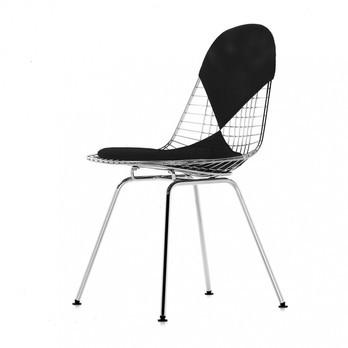 Vitra - Eames Wire Chair DKX-2 Stuhl H43cm - schwarz/glanzchrom/Stoff Hopsak 66/mit Filzgleitern in basic dark schwarz/neue Höhe