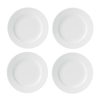 - Rhombe Speiseteller 4er Set Ø21cm - weiß/handgemachtes Porzellan