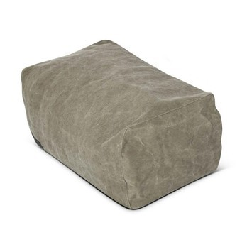 NORR 11 - Club Lounge Pouf - dark green - washed army/canvas/60x40x30cm