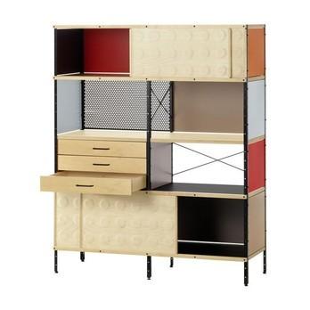 Vitra - ESU Bücherregal 148x120x43cm - orange/grau/braun/Gestell schwarz/5 Fächer + 3 Schubladen