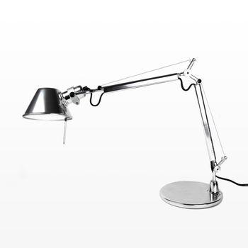 Artemide - Tolomeo Micro Chrom Schreibtischleuchte - aluminium/glänzend/mit Tischfuß/BxH 45x73cm