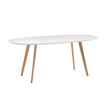 Arper - Gher Esstisch - weiß/Gestell natur/mit ovaler MDF-Tischplatte/135x100cm