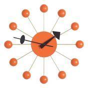 Vitra - Ball Clock Nelson Wanduhr - orange/Zeiger schwarz/Holz/Ø33cm