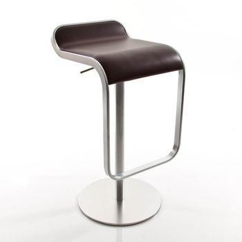 la palma - Lem 66-79 Barhocker Gestell chrom matt - dunkelbraun/Leder/Gestell matt verchromt/Sitzfläche gepolstert/höhenverstellbar von 66 bis 79 cm