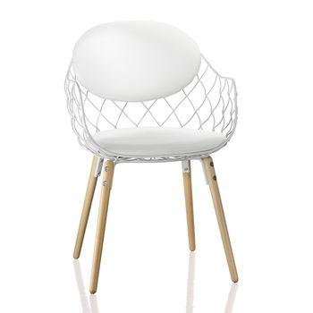 Magis - Piña Stuhl - Stoff - weiß/lackiert/Beine Buche natur/Stoff Star