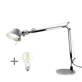 Artemide - Aktionsset Tolomeo Mini Tavolo + LED  - aluminium/eloxiert/poliert/BxH 68x54cm/mit Tischfuß und LED Leuchtmittel