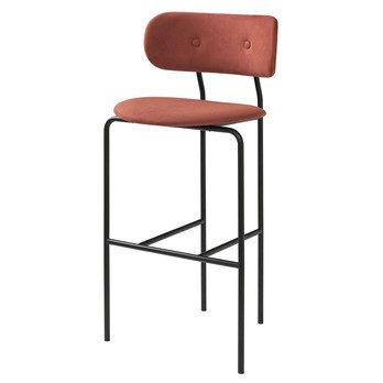 Gubi - Coco Bar Chair Barhocker - rostrot/Bezug Alcantara 407/BxHxT 58x108x51cm/Gestell schwarz