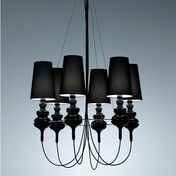 Metalarte - Josephine Queen 6 Candelabra - black/porcelain/shade black
