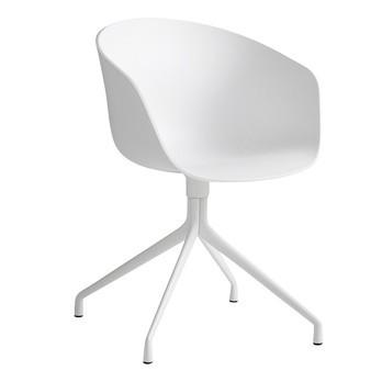 HAY - About a Chair 20 Drehstuhl mit Armlehnen - weiß/Gestell aluminium pulverbeschichtet weiß/mit Kunststoffgleitern