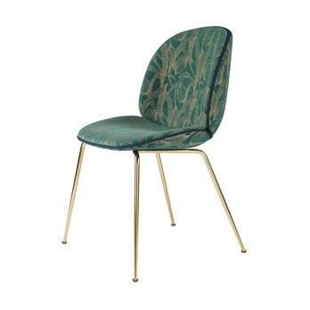 Gubi - Beetle Chair Stuhl mit Stoff und Gestell Messing - grün/Backhausen Jardin MC397B01/BxHxT 56x87x58cm/Biese Velour 420/Gestell Messing