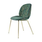 Gubi - Beetle Dining Chair Stuhl gepolstert  - grün/Backhausen Jardin MC397B01/BxHxT 56x87x58cm/Biese Velour 420/Gestell Messing