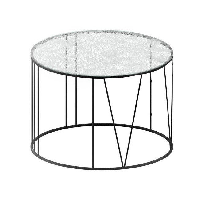 Zeus   Roma Coffee Table   Transparent/crystal Glass Patterned/frame Copper  Black With ...