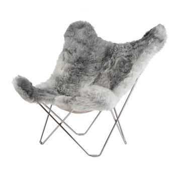 cuero - Iceland Mariposa Butterfly Chair Sessel - grau/Island Lammfell Shorn Grey/Gestell chrome matt