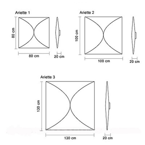 Flos - Ariette 3 Wand- / Deckenleuchte - Strichzeichnung