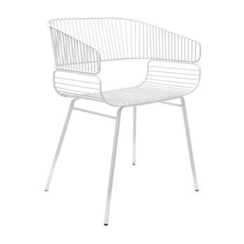 Petite Friture - Trame Armlehnstuhl - weiß RAL 9016/gekörnte Epoxidfarbe/für Innen- und Außenbereich geeignet/LxBxH 53.5x44x76.5cm