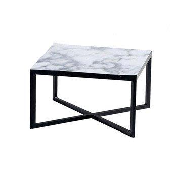 Knoll International - Krusin niedriger Beistelltisch H: 35cm - ebenholzfarbig gebeizt/Tischplatte Arabescato Marmor/LxBxH 60x60x35.7cm/Gestell Eiche