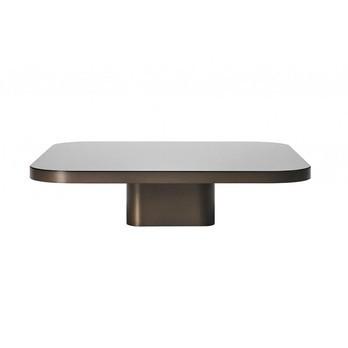 ClassiCon - Bow No. 2 Couchtisch - Messing brüniert/Kristallglas schwarz/LxBxH 100x100x25cm