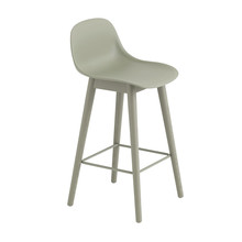 Muuto - Fiber Bar Stool With Backrest Wood Base 65cm