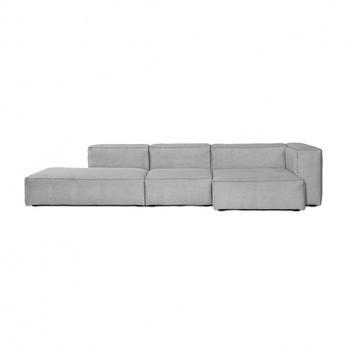 HAY - Mags Soft Lounge Sofa Armlehne rechts - hellgrau/Beine schwarz/Stoff Divina Melange 120/Naht schwarz/324x154x67cm
