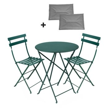 Fermob - Bistro Classique Set rund - Buche zederngrün/lackiert/Gestell Eisen/Tisch Ø60cm + 2 Stühle/inkl. 2 Sitzkissen grau
