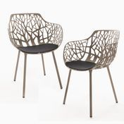 Weishäupl - Forest - Armchair Set of 2 - taupe/powder-coated/incl. 2 cushions anthracite