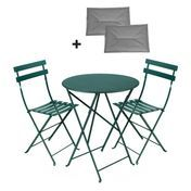 Fermob - Bistro Classique Set round - beech wood cedar green/lacquered/Gestell iron/table Ø60cm + 2 chairs/incl. 2 seat cushions gray