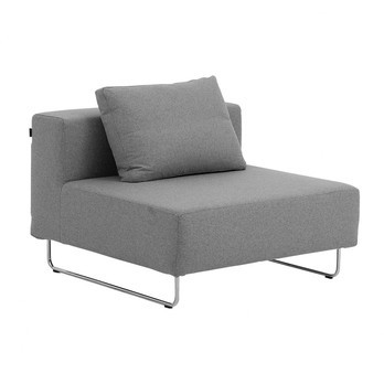 Softline - Ohio Sofa-Einzelelement 98x98cm - hellgrau/Filz 620/Gestell Chrom/inkl. 1 Rückenkissen 62x45cm