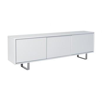 müller möbelfabrikation - K16-S4 Sideboard mit 3 Schiebetüren - signalweiß RAL 9003/seidenmatt/inkl. 3 Glaseinlegeböden (höhenverstellbar)/Gestell Aluminium poliert/227.5x73.5x42cm