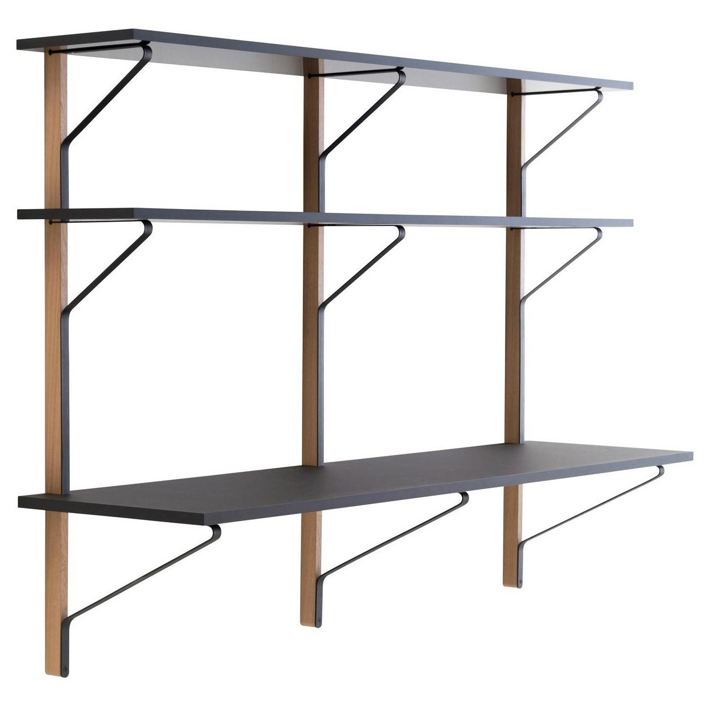 Wall To Wall Shelves artek kaari reb010 wall shelf with desk | ambientedirect